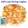 Copper Wire LED String Lights Strip Waterproof Dimmable Fairy Lights 33ft/100led