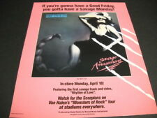 SCORPIONS Good Friday to Savage Monday original 1988 PROMO POSTER AD mint cond