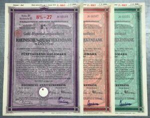 #078 * Triple * German Gold Mortgage Bonds * 08/1928 * read description