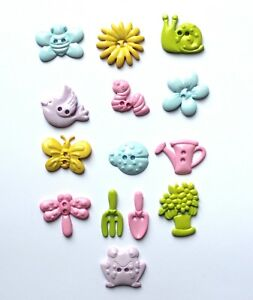 Garden Themed Novelty Buttons for Sewing and Craft.