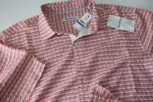 Tommy Bahama Camp Shirt Geovanni Geo Havana Pink 100% Silk New Medium M