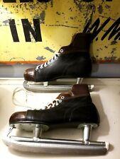 Vintage 1960's Norm Ullman Bilt Rite Black & Brown Ice Skates Men's Size 10 Nhl