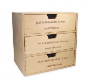 Schubladen-Regal mit 3 gr. Schubladen, Holz, incl. Gravur auf allen Schubladen