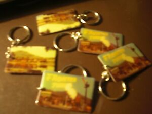 FRONTIER TOWN NORTH HUDSON NEW YORK 2 SIDED TRAIN SOUVENIR KEY CHAIN BRAND NEW