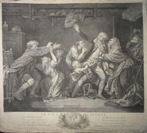 J-B GREUZE (1725-1805) BELLE GRAVURE XIX° FAMILLE MALÉDICTION HOMME FEMME MODE