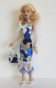 TINY KITTY CLOTHES - OOAK Dress, Wrap, Purse & Jewelry HM Fashion NO DOLL d4e
