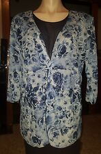 WOMENS Sz 18 blue & white MILLER'S floral 3/4 sleeve shirt LOVELY!