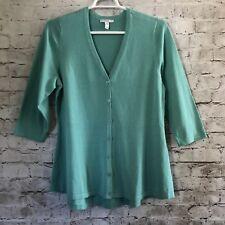 Isaac Mizrahi Live! Stretch Knit Green 3/4 Sleeve Button Front Tunic Top Sz. XL