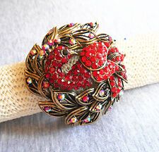 Elegant Retro Red Crystal Rhinestone Peacock Enamel Paint Wide Bracelet Bangle