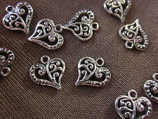 10 Silver Coloured 14x12mm Heart Charms D-Sided #ch1719 Combine Post-See Listing