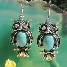 Ohrhänger Eule mit Türkis blau Kristalle als Augen Tibetsilber Vogel d Weisheit