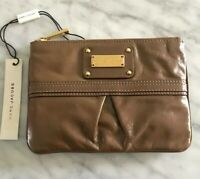 NWT Marc Jacobs Taupe Leather Made In Italy Flat Cosmetic Key Pouch Bag $225