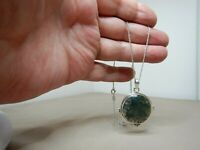 VINTAGE MOSS AGATE & STERLING SILVER PENDANT NECKLACE   SN781