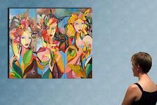 "3 x 16"" x 39 "" - PARIS MODELS - original  painting oil on canvas by ANNA !!!!!!!"