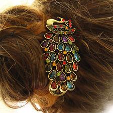 1pcs Girls Women Vintage Crystal Rhinestone Peacock Hair Barrette Clip Hairpin _