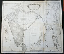 1752 D Anville Large Original Antique Map of India Sri Lanka Burma Siam - Scarce