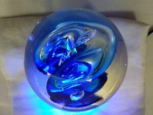 Blue glass paperweight