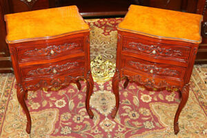 Gorgeous Pair of Louis XV Style Burled Walnut & Mahogany Nightstand Tables