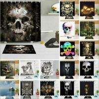 Halloween Abstract Skull Fabric Shower Curtain Set Bathroom Decor w/ Free Hooks