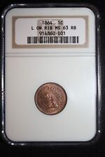 1864-L NGC Indian Head Penny NGC MS 63 RB Lots of Red L on Ribbon, Tough Date!