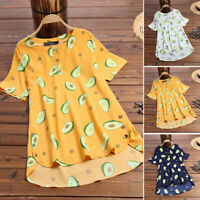 ZANZEA 8-24 Women Summer Short Sleeve Avocado Print Top Tee T Shirt Blouse HOT