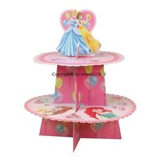Disney PRINCESS 2 Tier Cardboard Cake Stand + Topper hold 12 Cupcake Cinderell