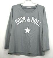 Misslook Womens Long Sleeve Crew Neck Rock & Roll Tee Shirt Rhinestones Size XL
