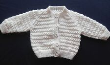 Hand Knitted Baby Cardigan in Cream. 3-6 Months
