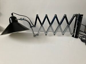 Wall mounted scissor arm electric lamp black conical shade late 70's early 80's