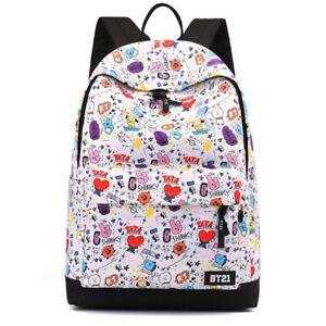 KPOP BTS BT21 Cartoon Doodle Backpack Student School Bag Rucksack Laptop Handbag
