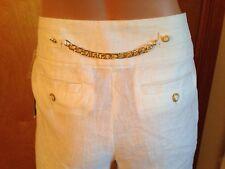 WILLI SMITH DESIGNER LINEN WHITE GOLD DETAIL SHORTS BERMUDA CAPRI PANT 6 / S NWT