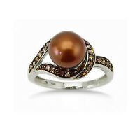 14K White Gold Pearl Ring Chocolate Brown Diamond & Pearl Ring .19ct