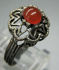 Vintage Antique Estate~Carnelian 925 Sterling Silver Ornate Filigree Ring 5.5+