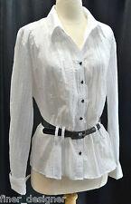 Fashion Bug Top blouse button down light peplum shirt white silver glitter SZ L