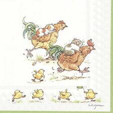 "Anita Jeram 20 Servietten""Run Rooster Run""Hamster-Rennen mit Huhn 33x33 Frühling"