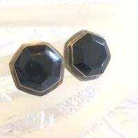 VTG .925 Onyx Octagon Earrings Sterling Silver Taxco Mexico Clip Retro