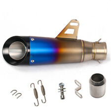 Universal Motorcycle Exhaust Half Blue Tail Pipe Muffler Tip Silp-on 38-51mm