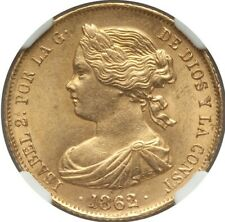 1862 Spain gold 100 reales, Seville mint,  NGC MS-64.
