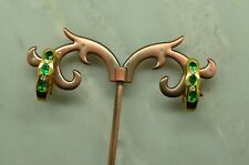 18K YELLOW GOLD 3 STONE EMERALD OMEGABACK EARRINGS WITH DIAMOND ACCENTS