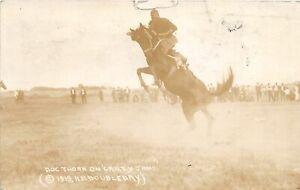 F83/ Gillette Wyoming Postcard RPPC 1921 Rodeo Crazy Jane Rider