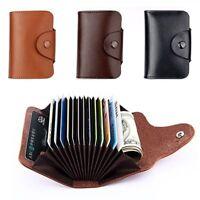 Aluminum Pocket Leather Credit Card Holder RFID Blocking Wallet