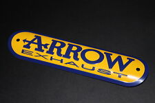 Arrow Auspuff Exhaust Aufkleber Logo Schrifzug Muffler Dämpfer Schild Plate gelb