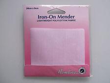 Hemline Lightweight Mender Poly Cotton Iron on Applique Repair Patch 24cm X 9cm White