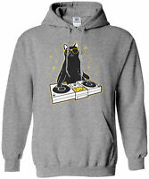 Cat DJ Unisex Hoodie Sweatshirt Funny Turntable Music Lover Gift