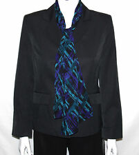 NEW Le Suit SIZE 8 PETITE Long Sleeve Pinstripe Jacket w/ Printed Scarf BLACK