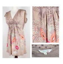 WHITE STUFF Dress Top M UK 12 Pure Linen Floral Mini Smock Casual