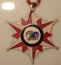 KVL 1962 ENAMELED JESTER MEDAL STAR SHAPED ALUMINUM ON RED AND WHITE CORD