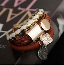 Fashion Punk Women/Men Multilayer Wrap Leather Braided Cuff Bracelet Wristband