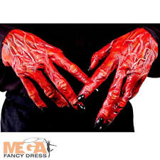 Red Devil Horror Hands Mens Fancy Dress Monster Costume Halloween Adult Gloves