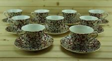 Lord Nelson Ware ROYAL BROCADE (9) Flat Cup & Saucer Sets | Chintz | England